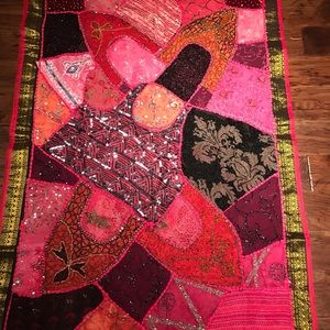 Pink & purple Morocco sequined rug/ wall hanging